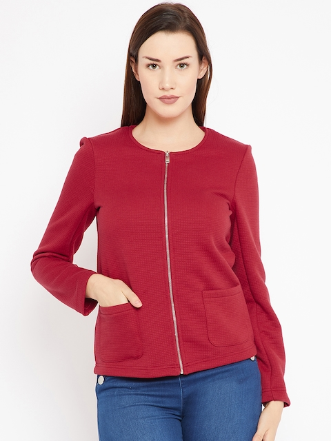 OVS Women Maroon Self Design Tailored Jacket
