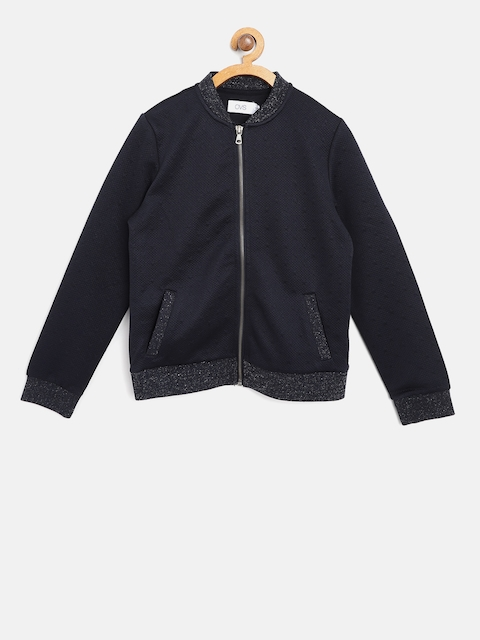 OVS Girls Navy Self Design Bomber Jacket