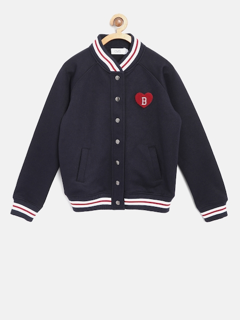 OVS Girls Navy Solid Bomber Jacket