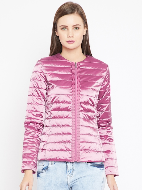 OVS Women Pink Solid Quilted Jacket