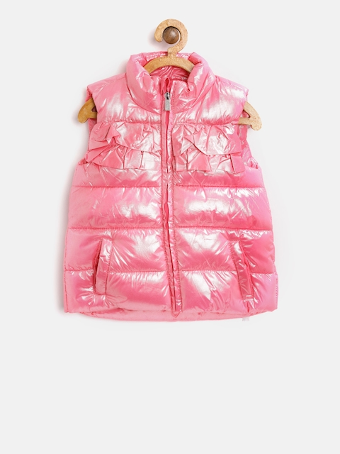 OVS Girls Pink Solid Puffer Jacket