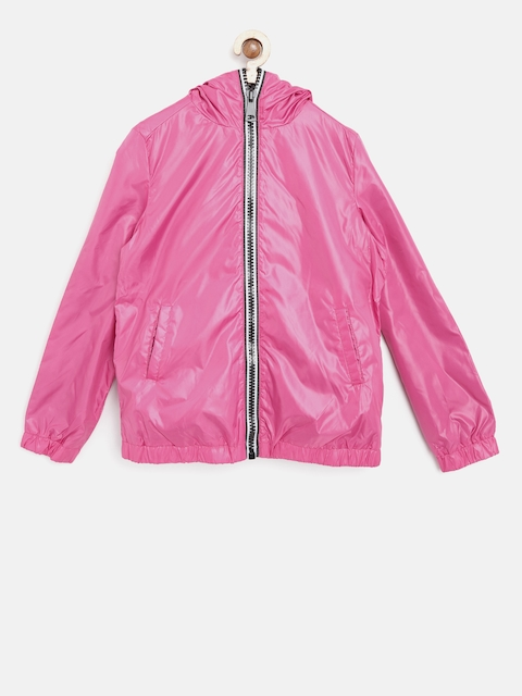 OVS Girls Pink Solid Hooded Tailored Jacket