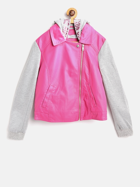 OVS Girls Pink & Grey Melange Solid Hooded Tailored Jacket