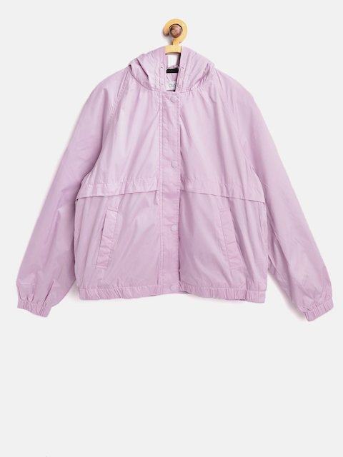 OVS Girls Lavender Solid Hooded Tailored Jacket