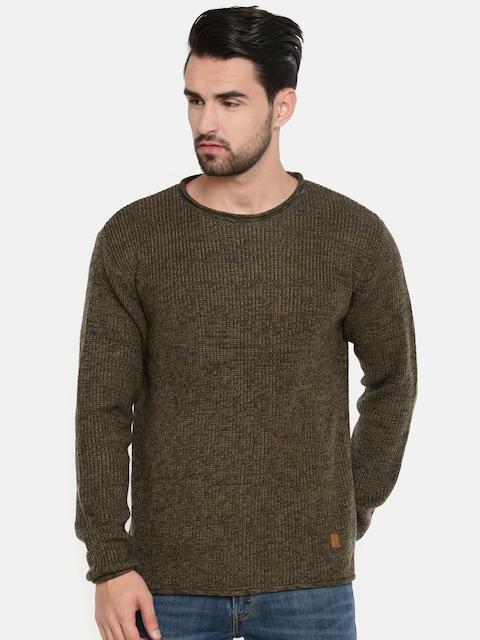 Indian Terrain Men Olive Green Solid Pullover