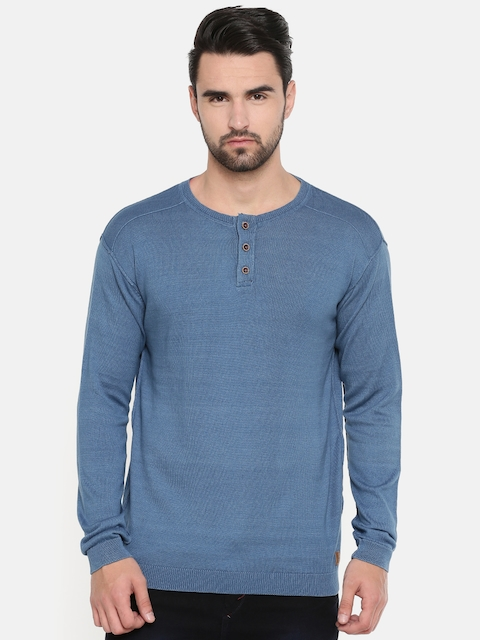 Indian Terrain Men Blue Solid Pullover