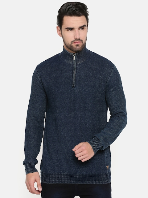 Indian Terrain Men Navy Blue Solid Pullover
