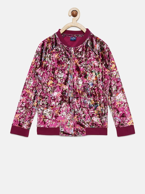 Fame Forever by Lifestyle Girls Maroon Floral Printed Tailored Jacket