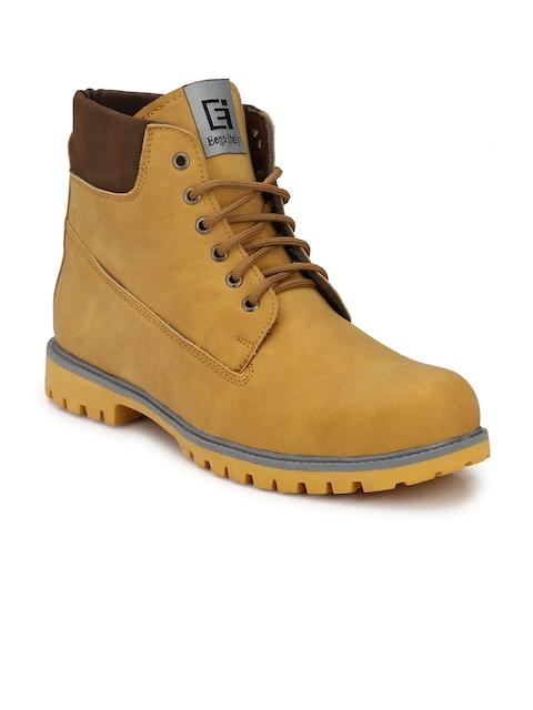 Eego Italy Men Tan Solid High-Top Flat Boots