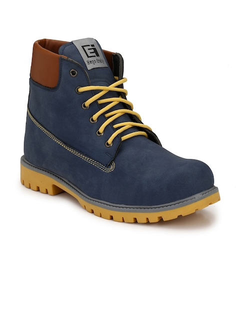 Eego Italy Men Blue Solid Mid-Top Flat Boots