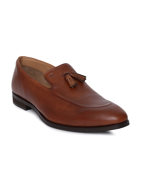 Louis Philippe Men Tan Brown Formal Leather Slip-ons