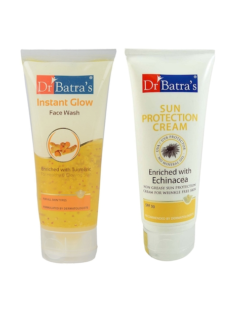 Dr. Batras Unisex Set of Instant Glow Face Wash & Sun Protection Cream