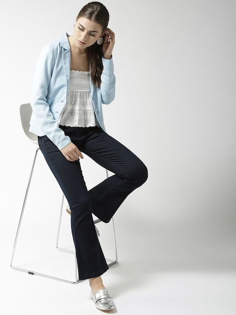 QUIERO Women Blue Solid Single-Breasted Casual Blazer