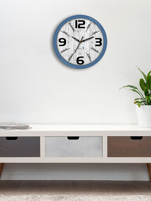 Story@home Grey Round Printed Analogue Wall Clock 25 cm