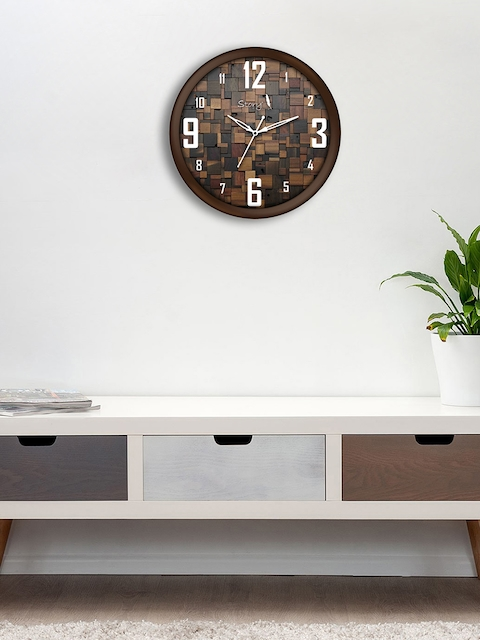 Story@home Brown Round Embellished Analogue Wall Clock