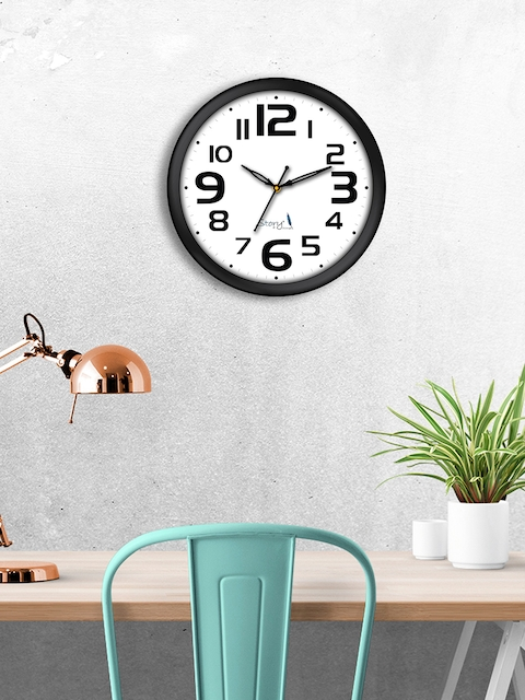 Story@home White Round Solid Analogue Wall Clock 25 cm