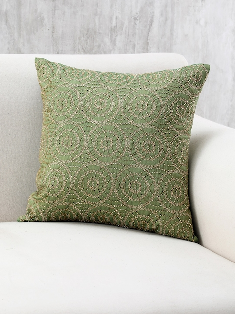 Pure Home and Living Olive Green Single Geometric Square Cushion Cover