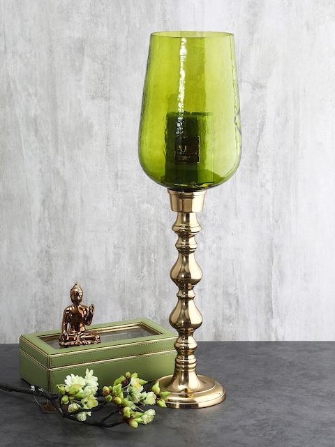 Pure Home and Living Green Glass Candle holders