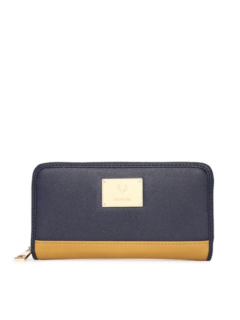 Allen Solly Women Navy Blue & Yellow Colourblocked Zip Around Wallet