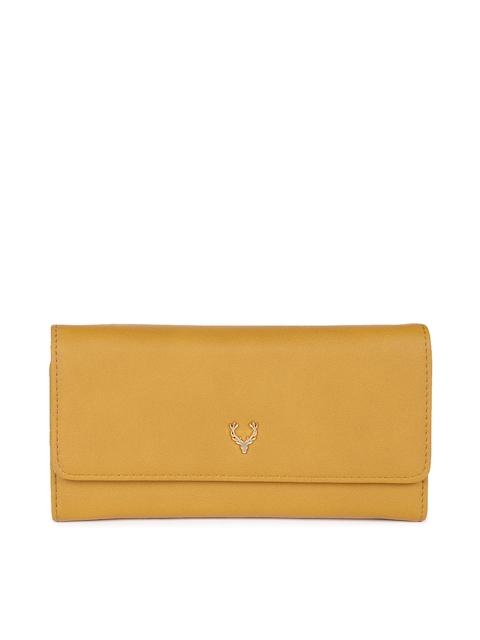 Allen Solly Women Mustard Solid Three Fold Wallet