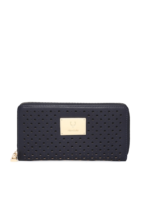 Allen Solly Women Navy Blue Textured Zip Around Wallet