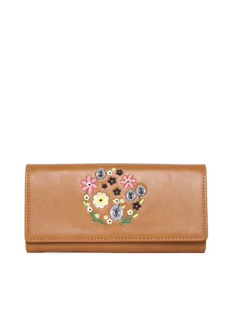 Allen Solly Women Tan Brown Embroidered Three Fold Wallet