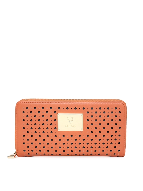 Allen Solly Women Peach-Coloured Zip Around Wallet