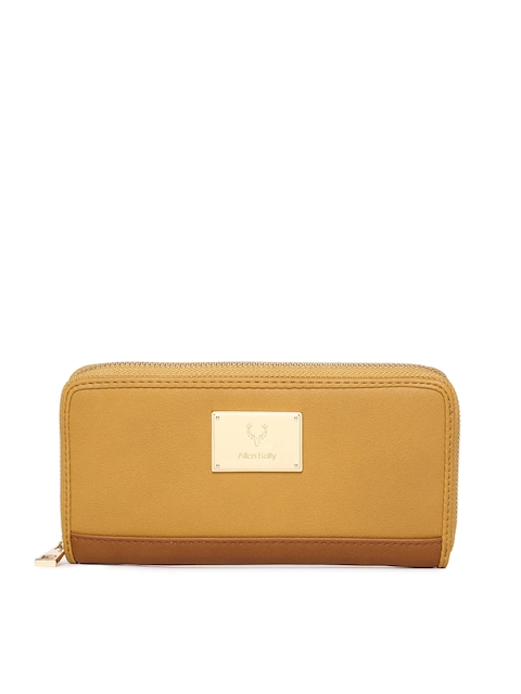 Allen Solly Women Yellow Solid Zip Around Wallet