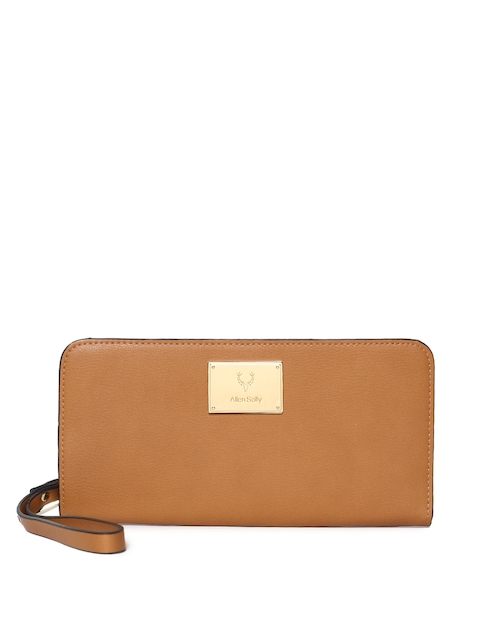 Allen Solly Women Tan Brown Solid Zip Around Wallet