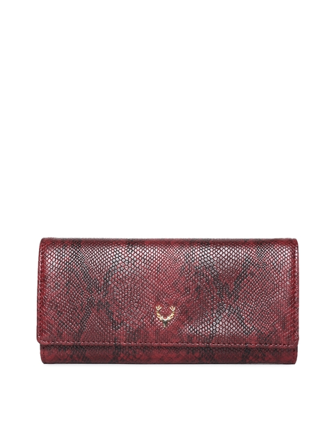 Allen Solly Women Maroon Textured Three Fold Wallet