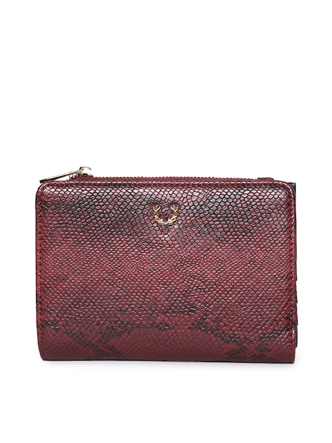 Allen Solly Women Maroon Textured Two Fold Wallet