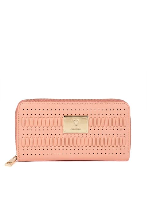 Allen Solly Women Peach Self Design Zip Around Wallet