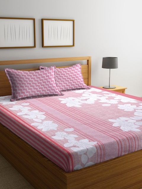 BLUSH Pink & Off-White Floral Flat 144 TC Cotton 1 Double Bedsheet with 2 Pillow Covers