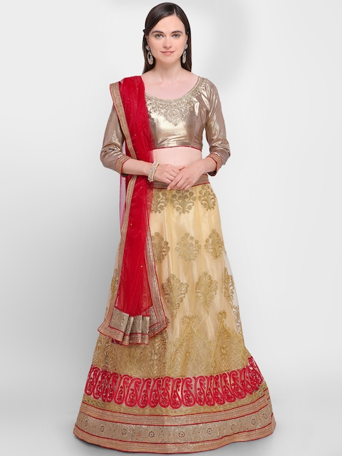 Aasvaa Beige & Red Embroidered Semi-Stitched Lehenga & Unstitched Blouse with Dupatta