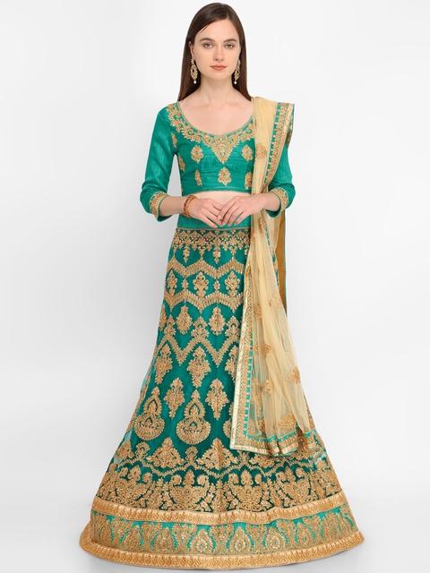 Aasvaa Green & Beige Embroidered Semi-Stitched Lehenga & Unstitched Choli with Dupatta
