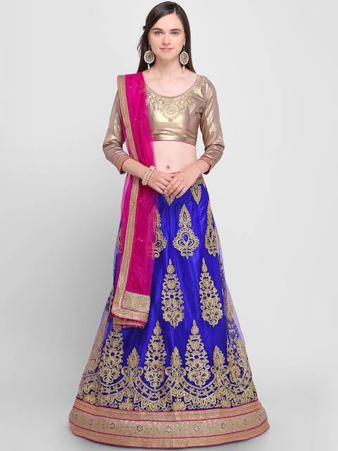 Aasvaa Blue & Magenta Embroidered Semi-Stitched Lehenga & Unstitched Choli with Dupatta