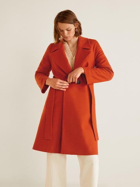 MANGO Women Orange Solid Overcoat