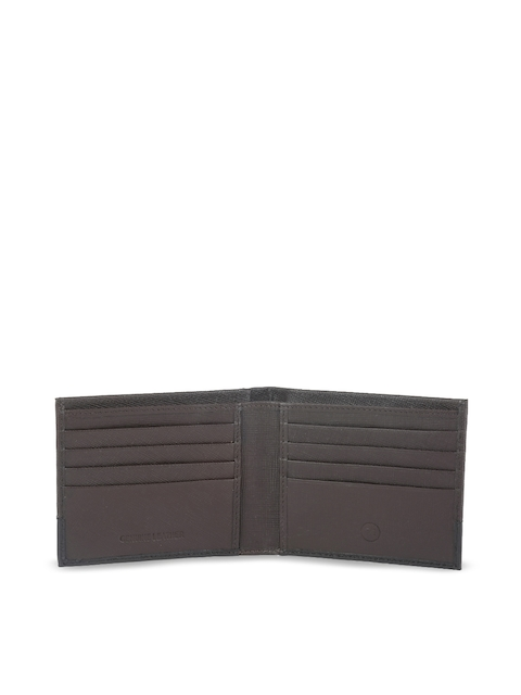 Peter England Men Brown Textured Leather Two Fold Wallet