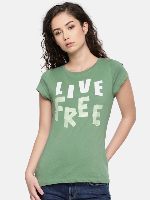 Wrangler Women Green Printed Round Neck T-shirt