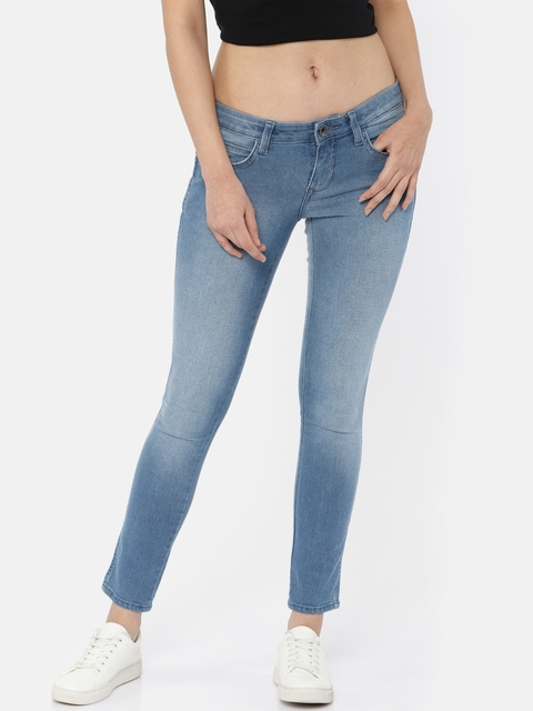 Wrangler Women Blue Ultra Skinny Fit Low-Rise Clean Look Stretchable Cropped Jeans