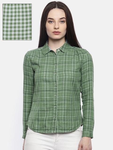 Wrangler Women Green & White Checked Reversible Shirt
