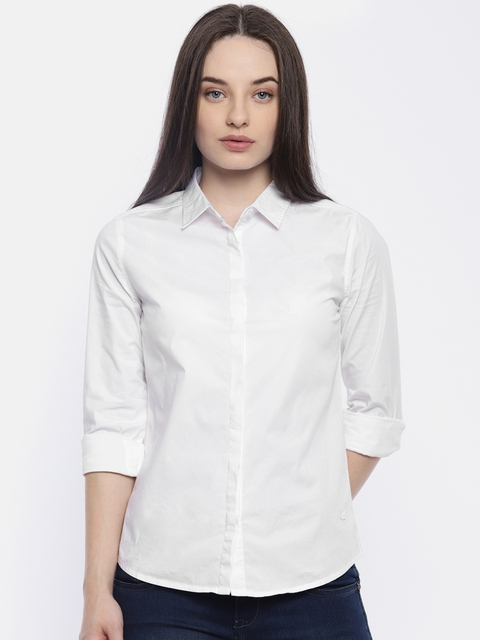 Wrangler Women White Solid Casual Shirt