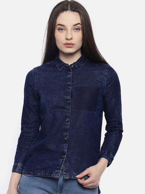 Wrangler Women Blue Faded Chambray Shirt