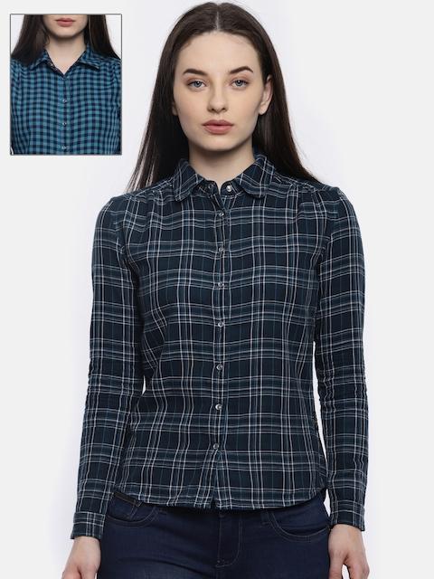 Wrangler Women Navy Blue & White Checked Reversible Shirt
