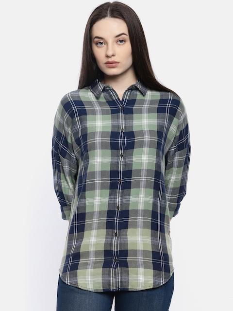 Wrangler Women Green & Navy Blue Checked Casual Shirt