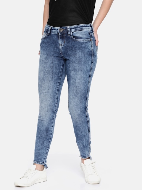 Wrangler Women Blue Skinny Fit Mid-Rise Clean Look Stretchable Jeans