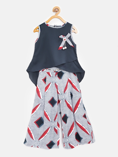 Tiny Girl Navy Blue & White Solid High-Low Top with Palazzos
