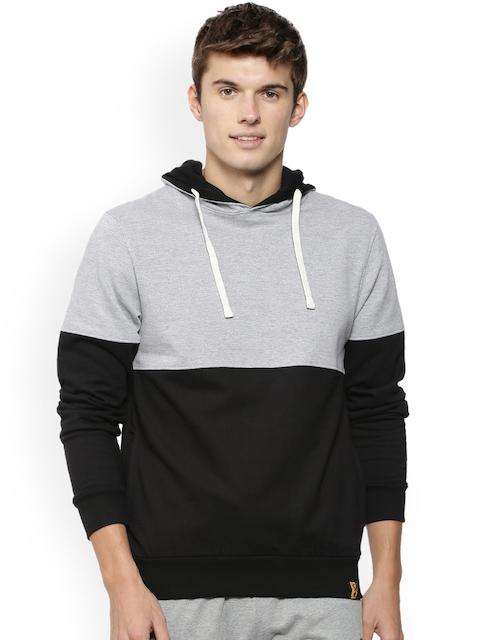 Campus Sutra Men Black & Grey Colourblocked Hooded Sweatshirt