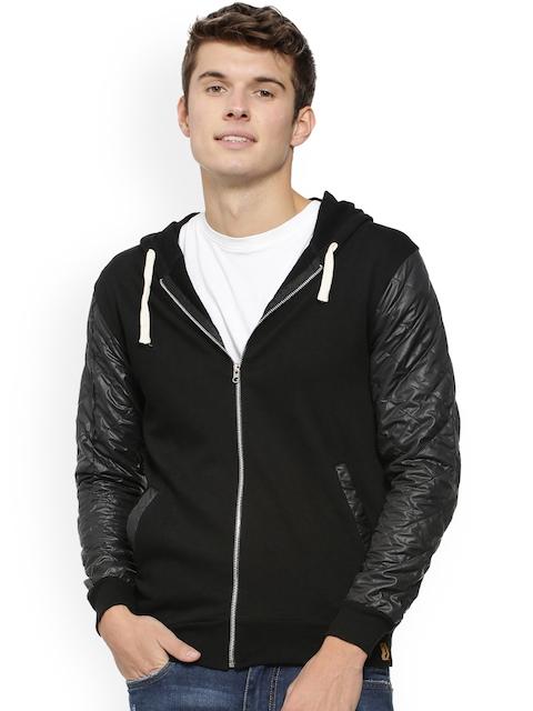Campus Sutra Men Black Solid Hooded Sweatshirt