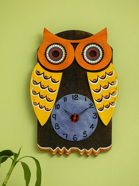 ExclusiveLane Brown & Yellow Handcrafted Quirky Printed Analogue Wall Clock